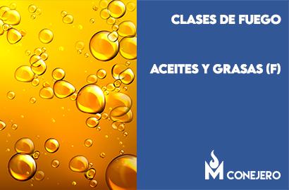 clases de fuego según la naturaleza del combustible: Aceites y grasas (Clase F)